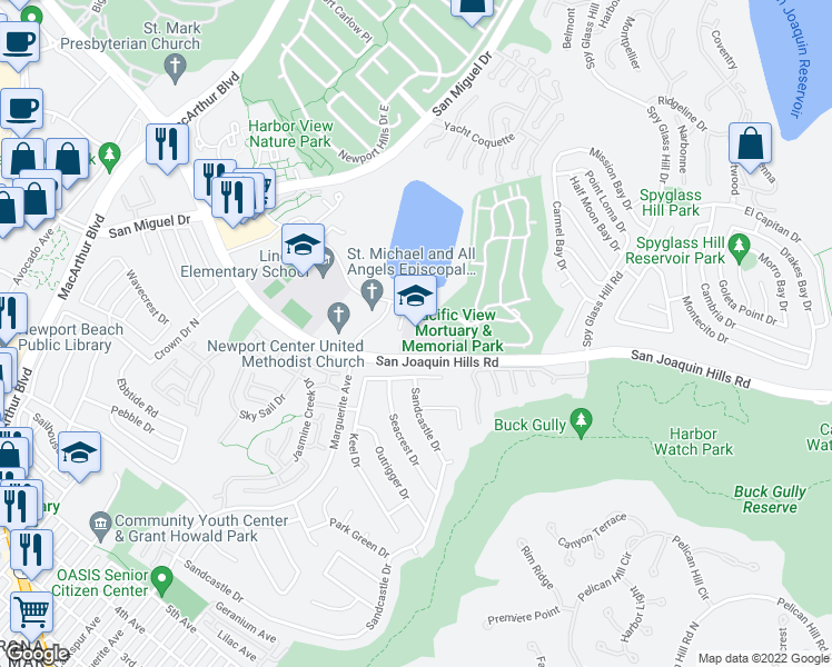 map of restaurants, bars, coffee shops, grocery stores, and more near 3452-3620 San Joaquin Hills Road in Newport Beach