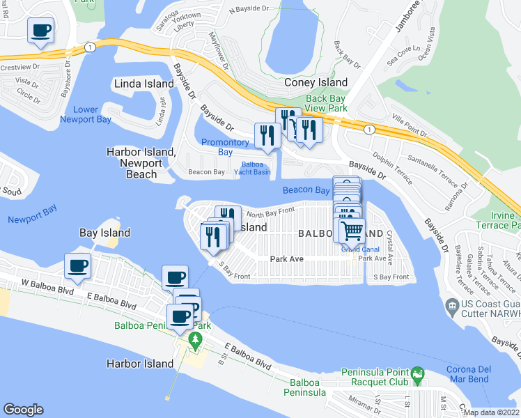 map of restaurants, bars, coffee shops, grocery stores, and more near 603 N Bay Front in Newport Beach