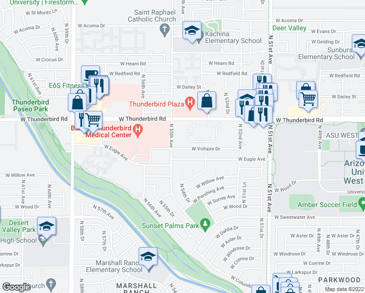 map of restaurants, bars, coffee shops, grocery stores, and more near 5428 West Voltaire Drive in Glendale