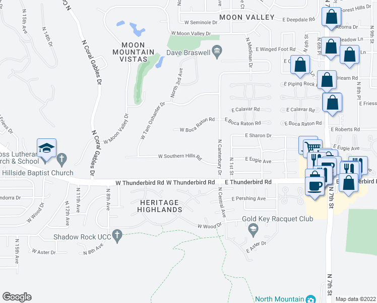 map of restaurants, bars, coffee shops, grocery stores, and more near 120 West Southern Hills Road in Phoenix