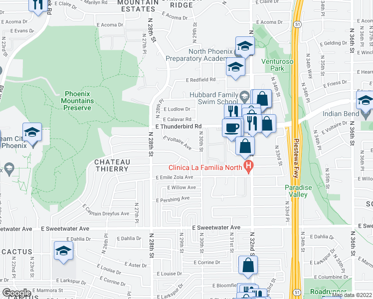 map of restaurants, bars, coffee shops, grocery stores, and more near 2917 East Voltaire Avenue in Phoenix