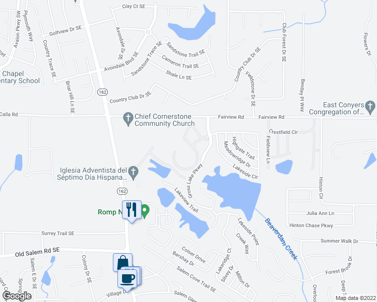 map of restaurants, bars, coffee shops, grocery stores, and more near 30 Grosslake Parkway in Covington