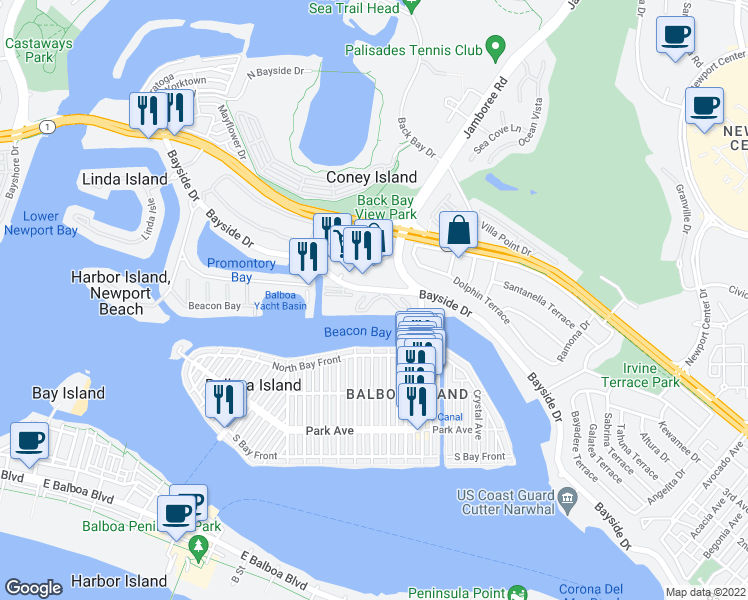 map of restaurants, bars, coffee shops, grocery stores, and more near 985 Bayside Cove in Newport Beach
