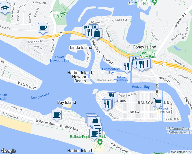 map of restaurants, bars, coffee shops, grocery stores, and more near 3 Harbor Island Road in Newport Beach