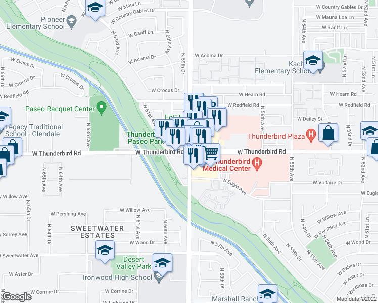 map of restaurants, bars, coffee shops, grocery stores, and more near W Thunderbird Rd & N 59th Ave in Glendale