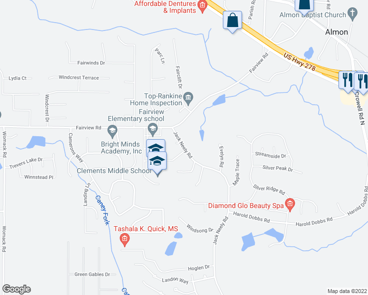 map of restaurants, bars, coffee shops, grocery stores, and more near 110-130 Jack Neely Road in Covington