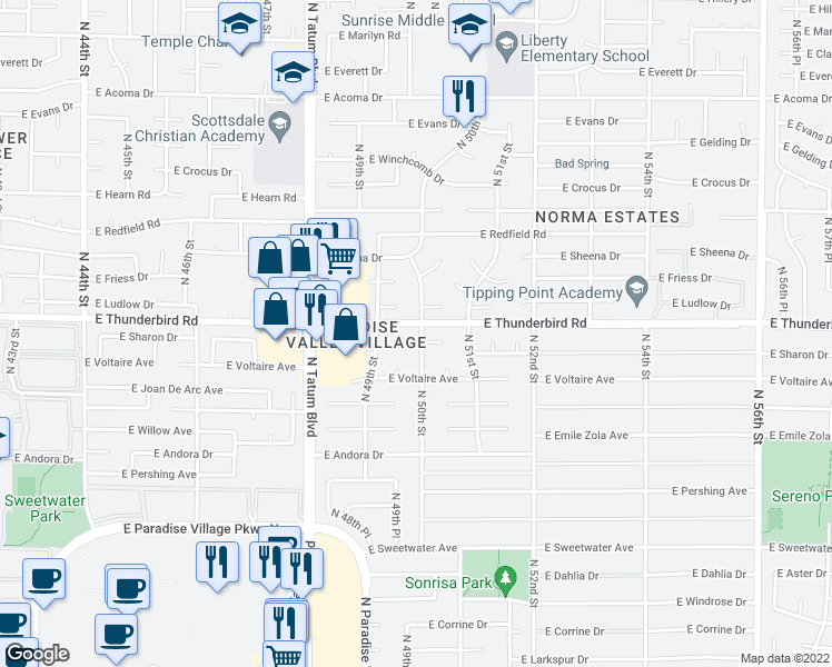 map of restaurants, bars, coffee shops, grocery stores, and more near 4936 East Sharon Drive in Scottsdale