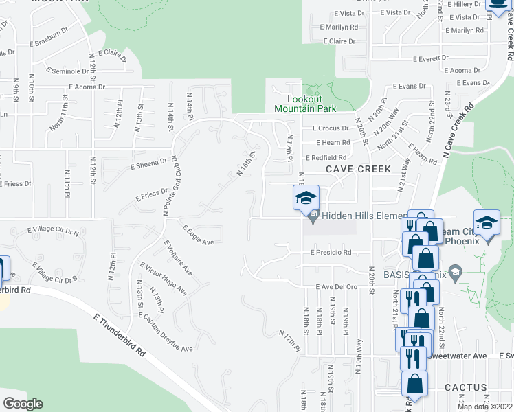map of restaurants, bars, coffee shops, grocery stores, and more near 13813 16th Way in Phoenix