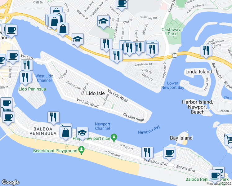map of restaurants, bars, coffee shops, grocery stores, and more near 658 Via Lido Nord in Newport Beach