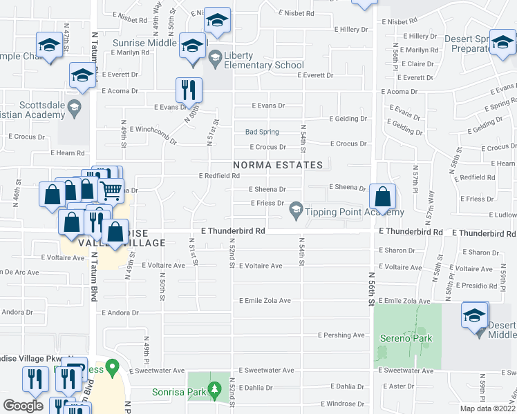 map of restaurants, bars, coffee shops, grocery stores, and more near 5233 East Friess Drive in Scottsdale