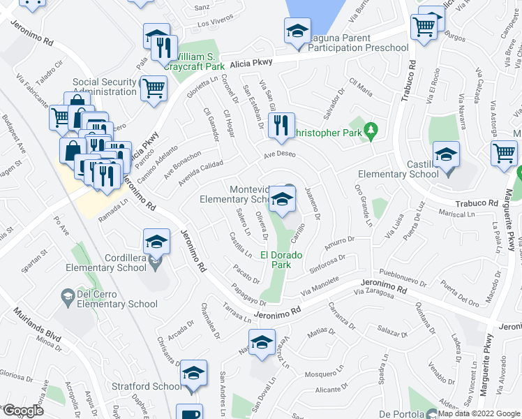map of restaurants, bars, coffee shops, grocery stores, and more near 24092 Olivera Drive in Mission Viejo