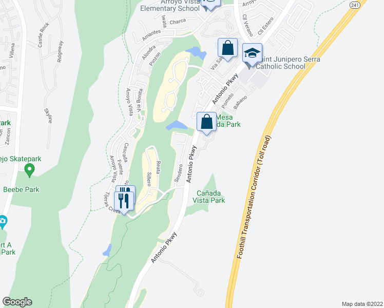 map of restaurants, bars, coffee shops, grocery stores, and more near Antonio Pkwy in Rancho Santa Margarita