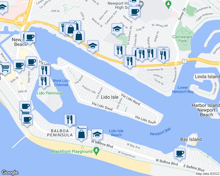 map of restaurants, bars, coffee shops, grocery stores, and more near Via Lido Nord in Newport Beach