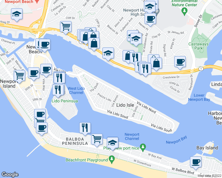 map of restaurants, bars, coffee shops, grocery stores, and more near 417 Via Lido Nord in Newport Beach