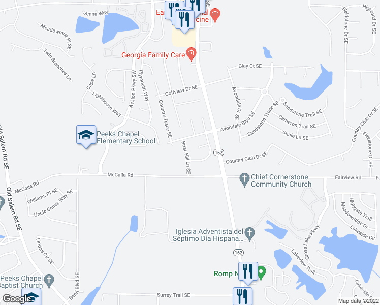 map of restaurants, bars, coffee shops, grocery stores, and more near 2809 Briar Hill Lane Southeast in Conyers