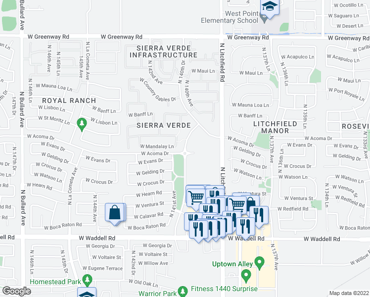 map of restaurants, bars, coffee shops, grocery stores, and more near West Acoma Drive in Surprise