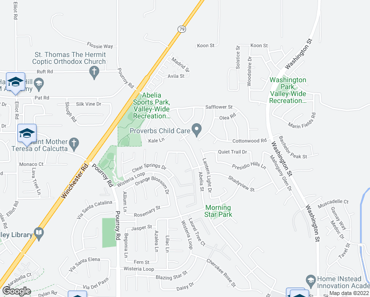 map of restaurants, bars, coffee shops, grocery stores, and more near 32326 Honeybee Drive in Winchester
