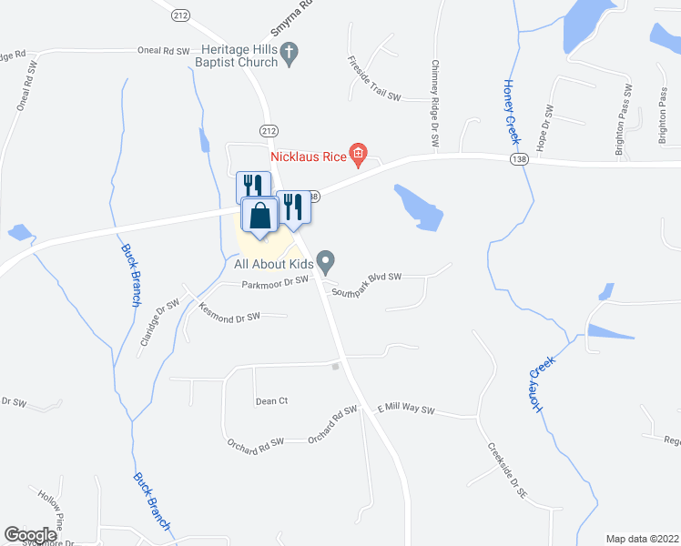 map of restaurants, bars, coffee shops, grocery stores, and more near 2815 Highway 212 in Conyers
