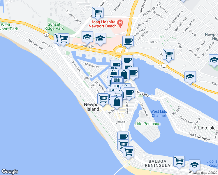map of restaurants, bars, coffee shops, grocery stores, and more near 409 Clubhouse Avenue in Newport Beach