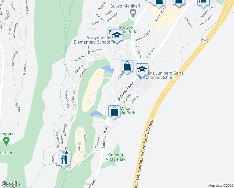 map of restaurants, bars, coffee shops, grocery stores, and more near 138 Encantado Canyon in Rancho Santa Margarita