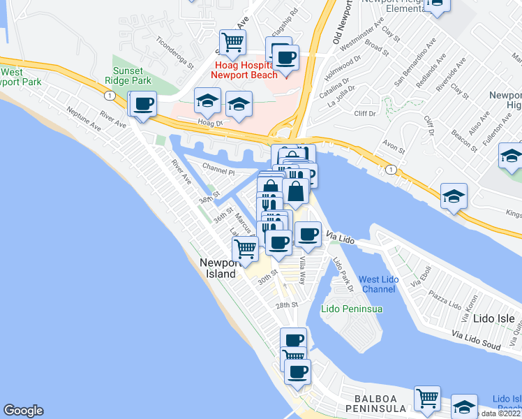 map of restaurants, bars, coffee shops, grocery stores, and more near 505 Clubhouse Avenue in Newport Beach