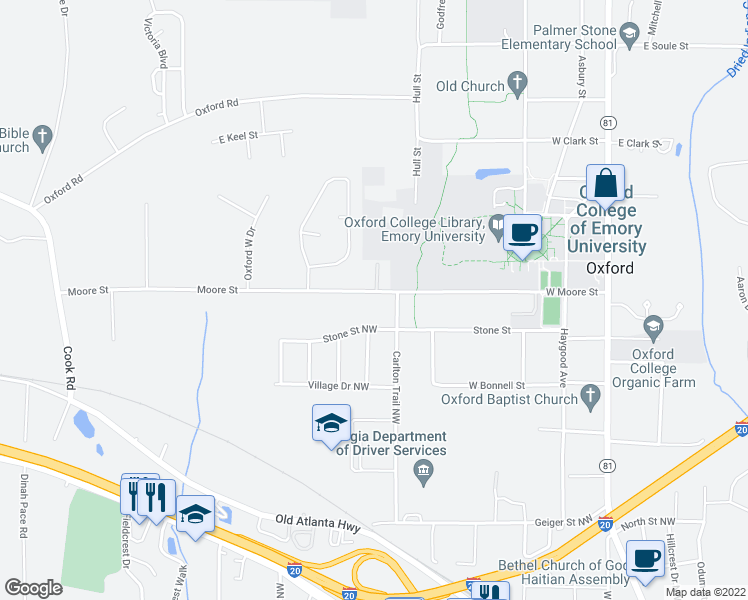 map of restaurants, bars, coffee shops, grocery stores, and more near 481 Moore Street in Oxford