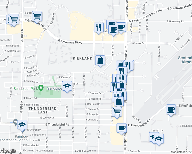map of restaurants, bars, coffee shops, grocery stores, and more near 7009 East Acoma Drive in Scottsdale