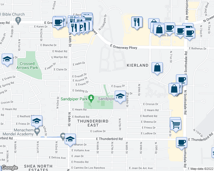 map of restaurants, bars, coffee shops, grocery stores, and more near 14436 North 67th Place in Scottsdale