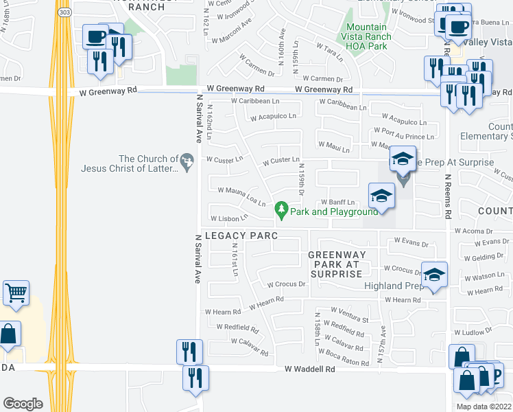 map of restaurants, bars, coffee shops, grocery stores, and more near 16073 West Mauna Loa Lane in Surprise