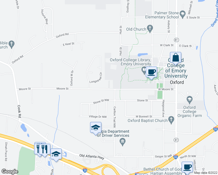 map of restaurants, bars, coffee shops, grocery stores, and more near 102 College Walk in Oxford