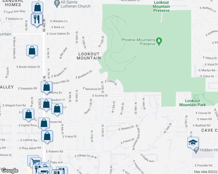 map of restaurants, bars, coffee shops, grocery stores, and more near 1214 East Seminole Drive in Phoenix