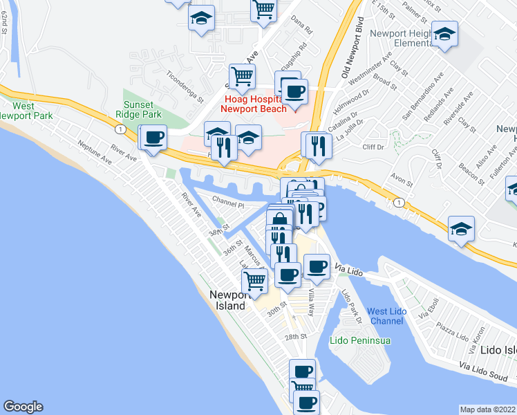 map of restaurants, bars, coffee shops, grocery stores, and more near 3707 Channel Place in Newport Beach