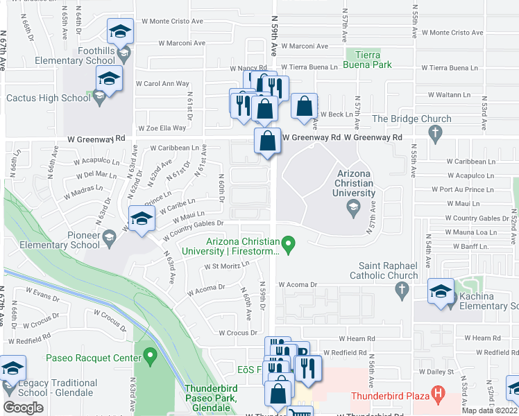 map of restaurants, bars, coffee shops, grocery stores, and more near 15010 North 59th Avenue in Glendale
