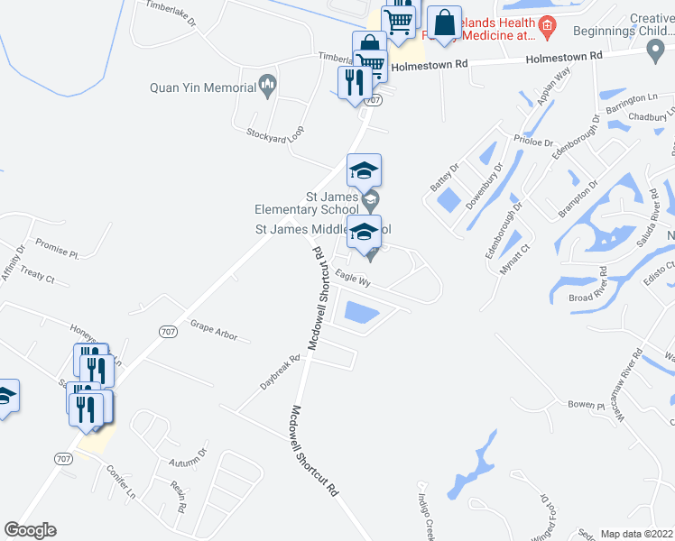 map of restaurants, bars, coffee shops, grocery stores, and more near 109 Southborough Lane in Murrells Inlet