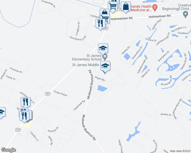 map of restaurants, bars, coffee shops, grocery stores, and more near 201 Sancroft Lane in Myrtle Beach