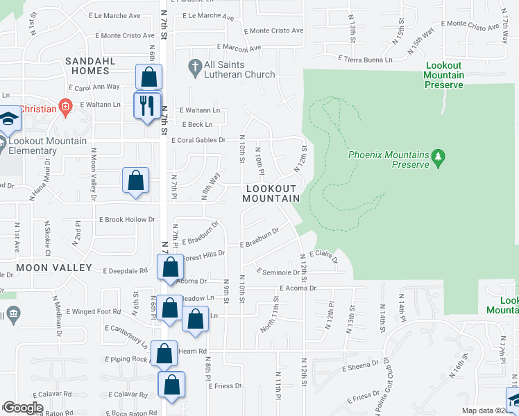 map of restaurants, bars, coffee shops, grocery stores, and more near 1101 East Country Gables Drive in Phoenix