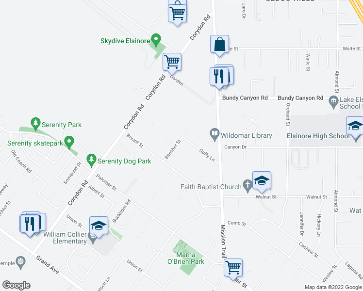 map of restaurants, bars, coffee shops, grocery stores, and more near 32158 Beecher Street in Wildomar