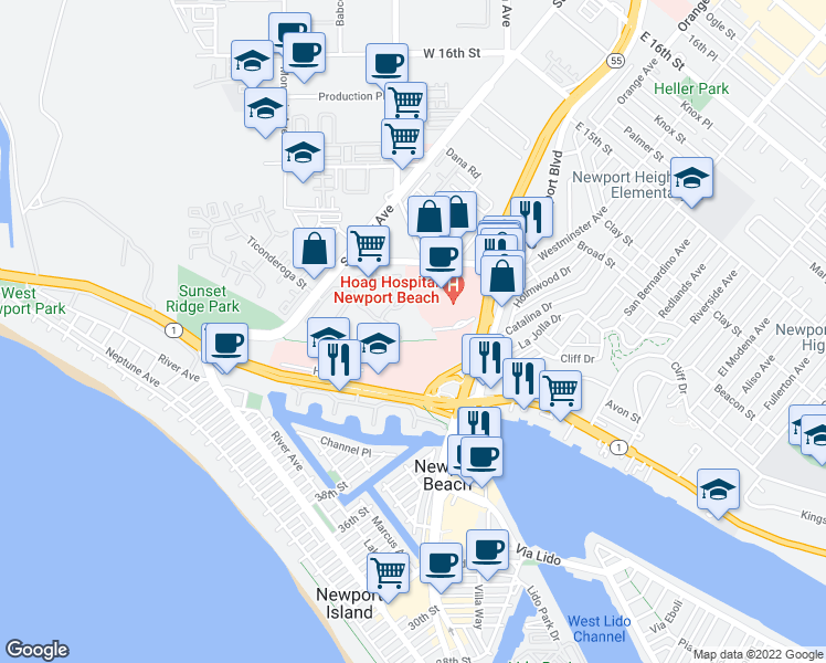 map of restaurants, bars, coffee shops, grocery stores, and more near 280 Cagney Lane in Newport Beach