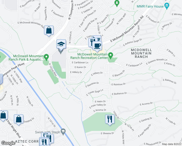 map of restaurants, bars, coffee shops, grocery stores, and more near 10406 East Hillery Drive in Scottsdale