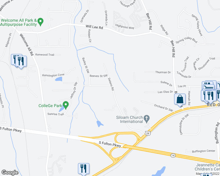 map of restaurants, bars, coffee shops, grocery stores, and more near 4801 Delano Road in Atlanta