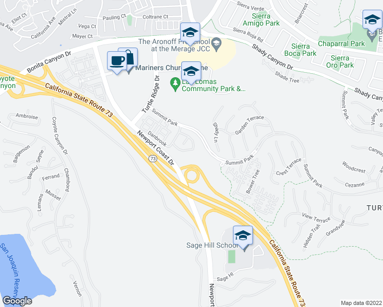 map of restaurants, bars, coffee shops, grocery stores, and more near 107 Roadrunner in Irvine