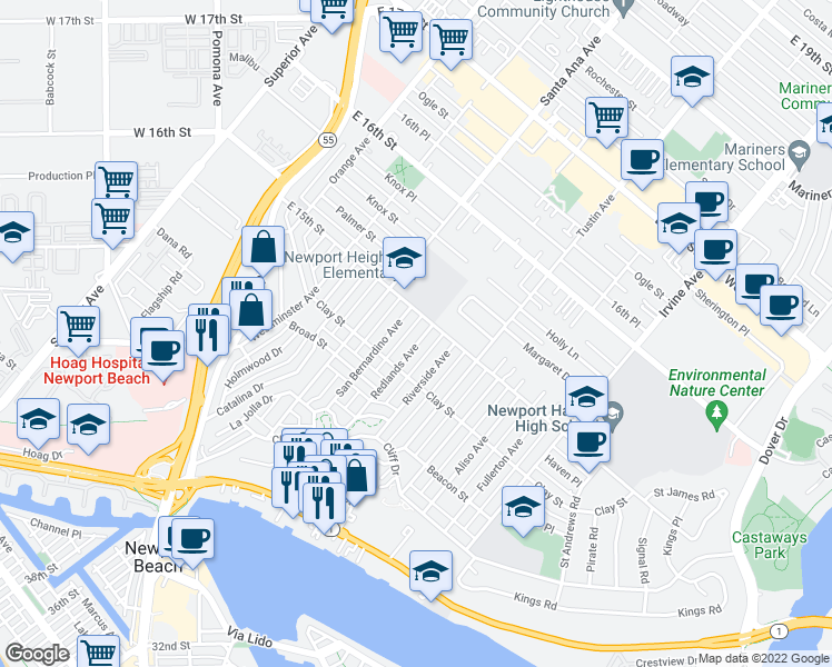 map of restaurants, bars, coffee shops, grocery stores, and more near 535 Redlands Avenue in Newport Beach