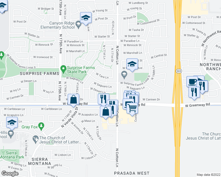 map of restaurants, bars, coffee shops, grocery stores, and more near 17119 West Saguaro Lane in Surprise