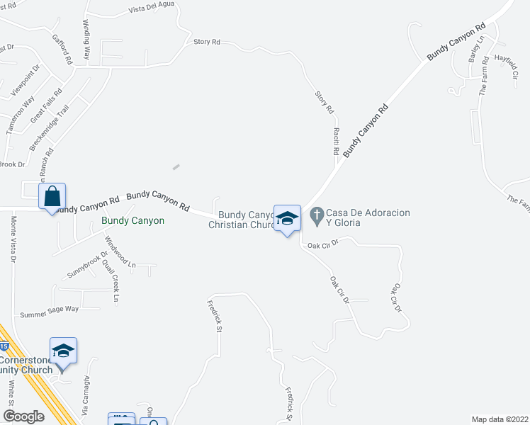 map of restaurants, bars, coffee shops, grocery stores, and more near 23400 Bundy Canyon Road in Wildomar
