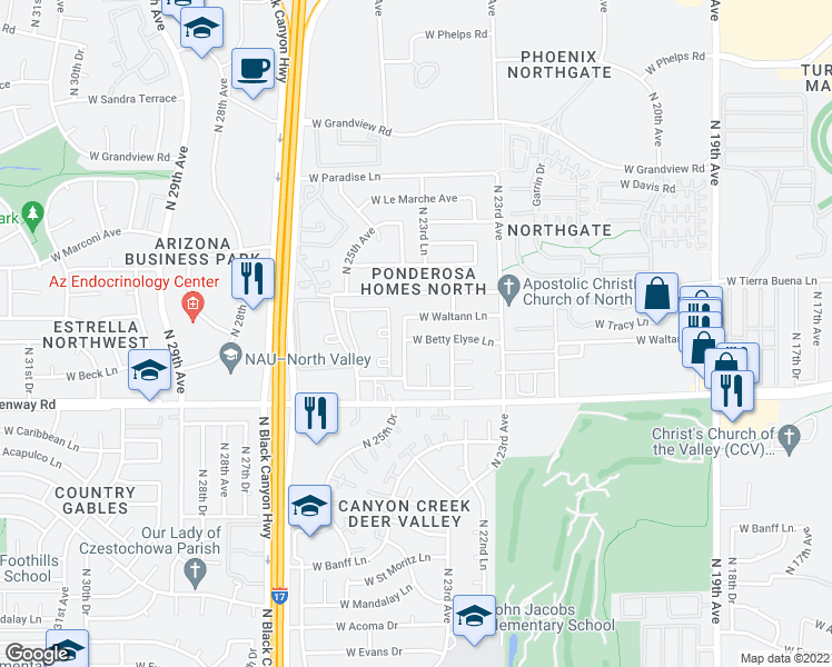 map of restaurants, bars, coffee shops, grocery stores, and more near 2380 West Betty Elyse Lane in Phoenix