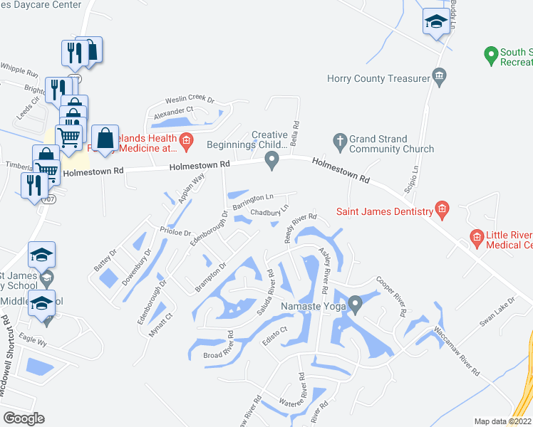 map of restaurants, bars, coffee shops, grocery stores, and more near 2019 Chadbury Lane in Myrtle Beach