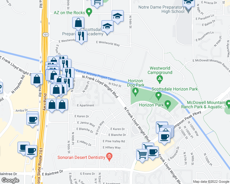 map of restaurants, bars, coffee shops, grocery stores, and more near 15555 North 93rd Street in Scottsdale