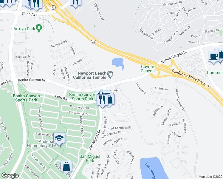 map of restaurants, bars, coffee shops, grocery stores, and more near 4788-5004 Bonita Canyon Drive in Newport Beach