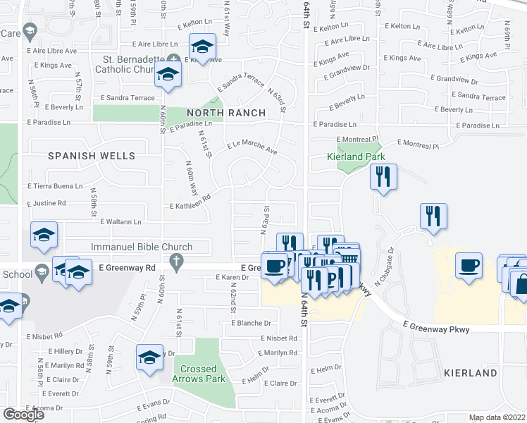 map of restaurants, bars, coffee shops, grocery stores, and more near 15634 North 63rd Street in Scottsdale