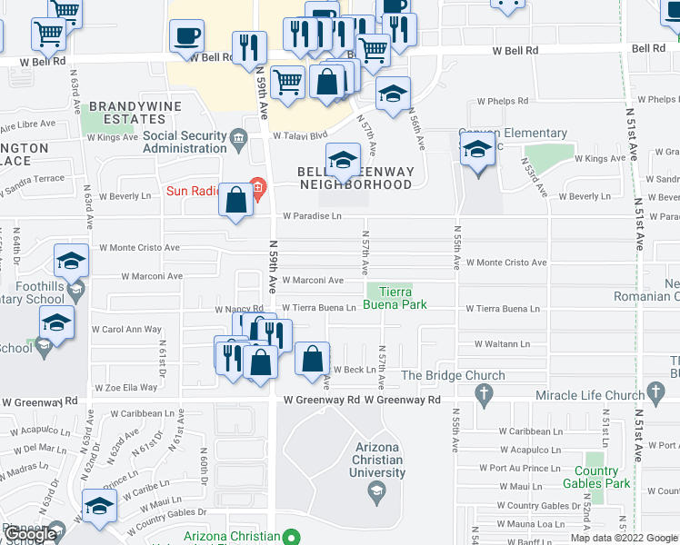 map of restaurants, bars, coffee shops, grocery stores, and more near 5748 West Marconi Avenue in Glendale